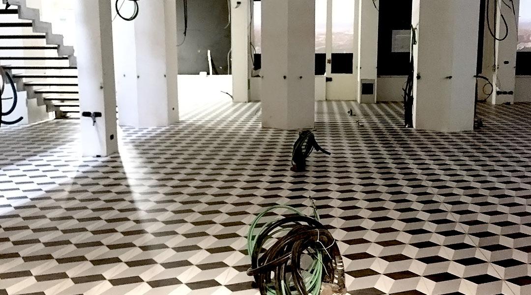 Pulire pavimento in cementine cementine d segni i mini formati